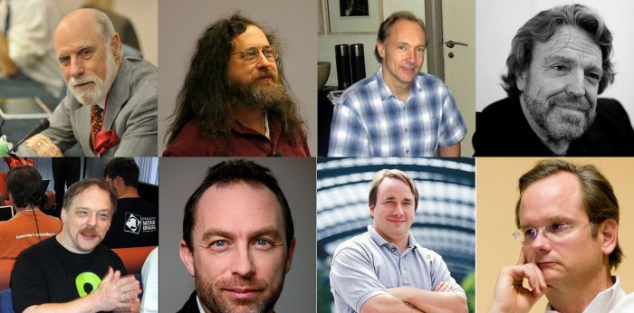 Vint Cerf, Richard Stallman, Tim Berners-Lee, John Perry Barlow, Eric Raymond, Jimmy Wales, Linus Torvalds, Lawrence Lessig (source: wikipedia)
